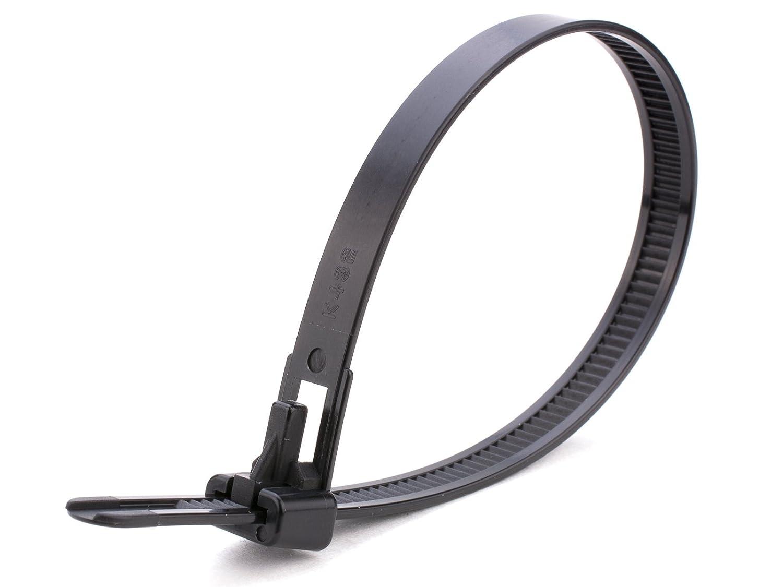 Lot de 100Heavy Duty Noir Releasable Attaches de câble–250mm x 7, 6mm Premium Tie Wraps–Haute Qualité solide en nylon Zip Ties par Gocableties