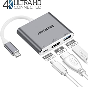 USB C to HDMI Adapter JAVONTEC Multiport Type C Hub with 4K HDMI,USB 3.0 Port and Power Delivery,USB Type C to HDMI Adapter Compatible with MacBook Pro,HP Spectre,Google Chromebook,Samsung S8/S9 More