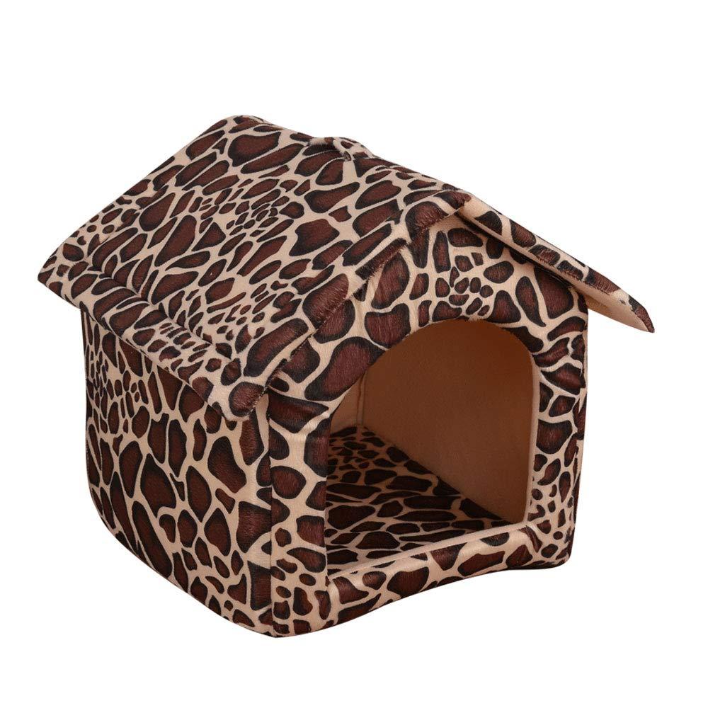 Leopard 32x37x37cm Leopard 32x37x37cm YangMi pet Bed- Kennel Cat Litter House House Washable Closed Teddy Pet House Small Dog Dog Supplies Winter Warm (color   Leopard, Size   32x37x37cm)