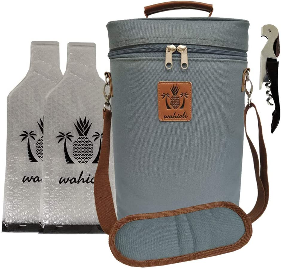 Wahioli | 2 bottle wine carrier tote bag set. Includes: 1 wine insulated cooler bag; 2 reusable wine travel protectors & 1 corkscrew wine opener. wine bag, great wine accessories and gift