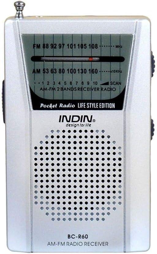 Radio Universal Am/FM con Sonido Claro de Bolsillo Universal con Antena telescópica y Toma de Auriculares Fácil de Usar Funciona con baterías para ...