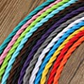 32.8ft Twisted 18/2 Rayon Covered Wire,HESSION Antique Industrial Electrical Cloth Cord,Vintage Style Lamp Cord strands UL listed