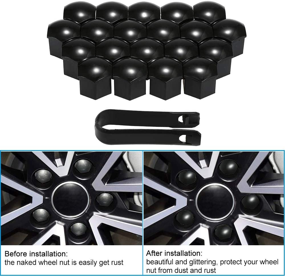 KKmoon 20pcs Universal 22mm Wheel Nut Covers Plating Lug Nut Caps Screw Protector Removal Tool