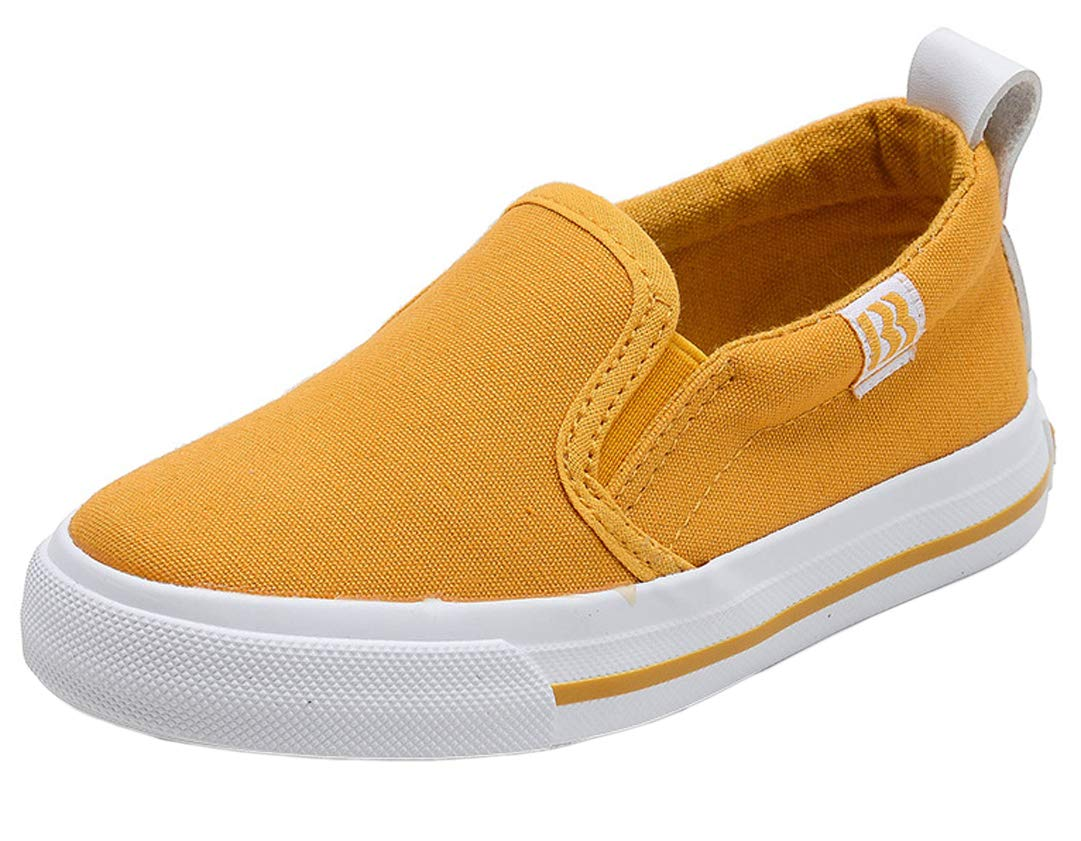 iDuoDuo Boys Girls Solid Color Leisure Slip ons Casual Flat Walking Loafer Yellow 10 M US Toddler