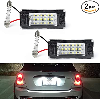2x MINI COOPER R50 R52 R53 R56 R57 3 SMD ERROR FREE LED NUMBER PLATE BULBS WHITE