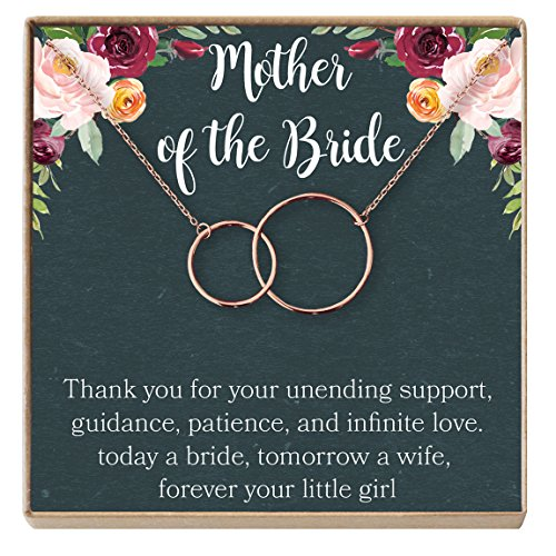 Bridal Party Jewelry Gifts - Mother of The Bride Gift Necklace: Wedding Gift, Bridal Party, Rehearsal Dinner, Woman of My Dreams, Parent of Bride (Rose-Gold-Plated-Brass, NA)