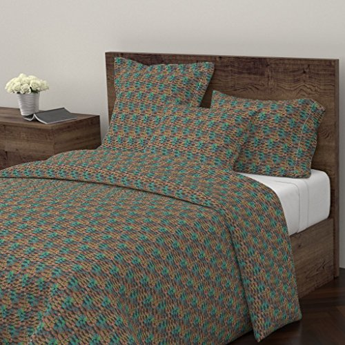 Copper Euro Comforter - Roostery Scales Duvet Cover Fish Mermaid Dragon Aqua Copper Verdigris by Peacoquettedesigns 100% Cotton King Duvet Cover