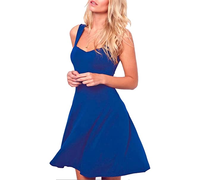 TheUniqueHouse Weman Summer Party Dress Elegant Blue Cotton Sexy Clothes Vestidos Verano Dresses,Blue,