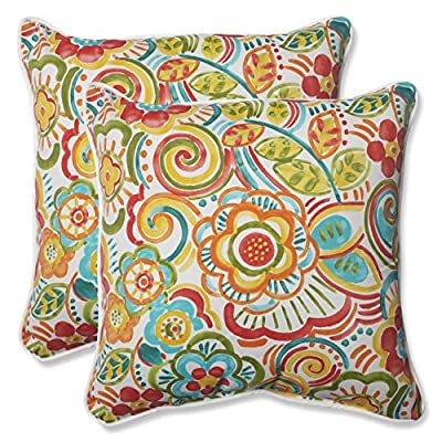 Pillow Perfect Outdoor Bronwood Carnival Throw Pillow, 18.5-Inch, Multicolored, Set of 2 - Includes two (2) outdoor pillows, resists weather and fading in sunlight; Suitable for indoor and outdoor use Plush Fill - 100-percent polyester fiber filling Edges of outdoor pillows are trimmed with matching fabric and cord to sit perfectly on your outdoor patio furniture - living-room-soft-furnishings, living-room, decorative-pillows - 61C0Cg0AN7L. SS400  -