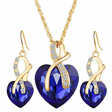 Amazon weel gift gold plated necklace sets for women crystal gold plated necklace sets for women crystal heart necklace earrings jewellery set bridal wedding accessories blue jewelry junglespirit Choice Image