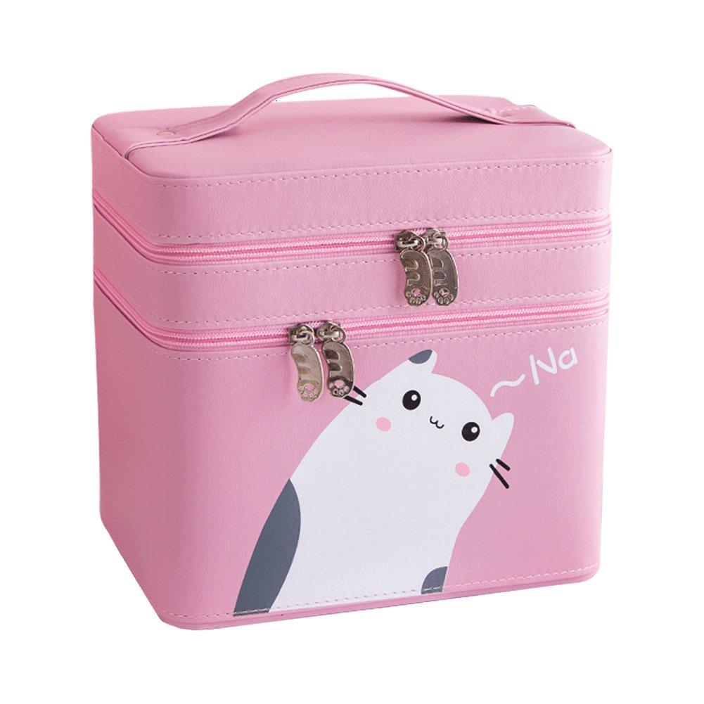 multication–Neceser para mujeres Portable Gran Capacidad Cute Cat artículos de baño Bolsa de viaje Organizador color rosa Chinashow