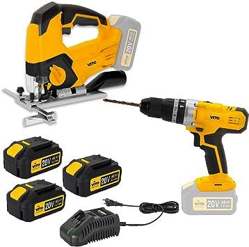 Pack 2 herramientas inalámbrico 20 V sierra caladora + taladro ...