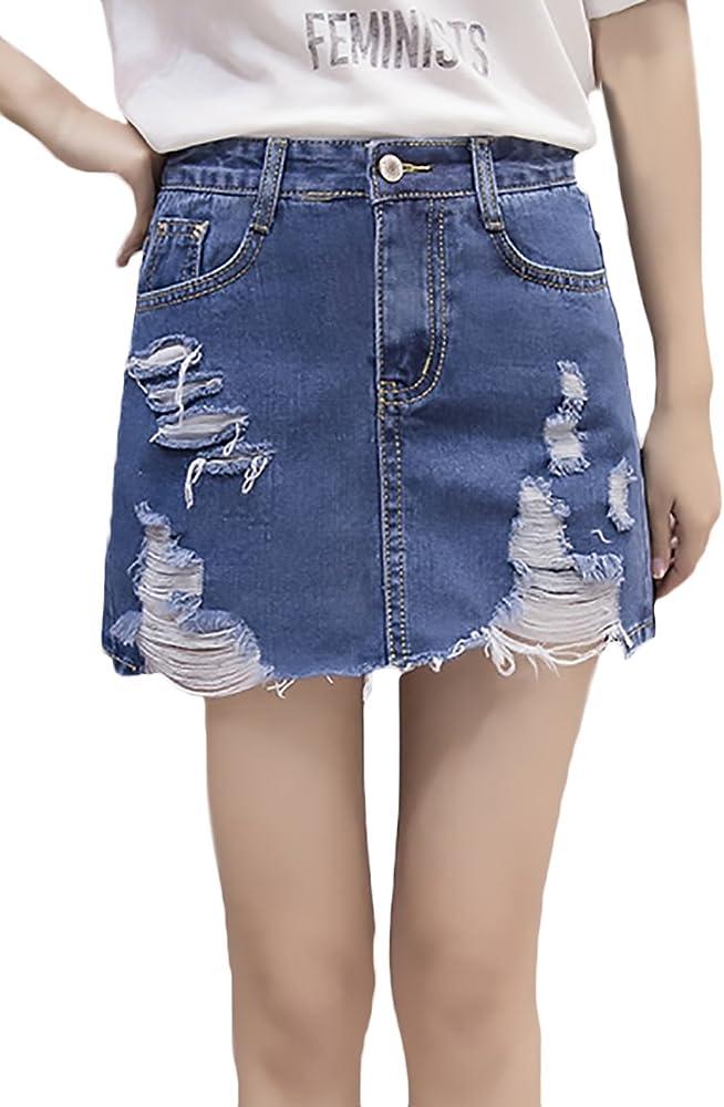 Mujer Faldas Vaqueras Verano Vintage Moda Desgarrado Cintura Alta ...