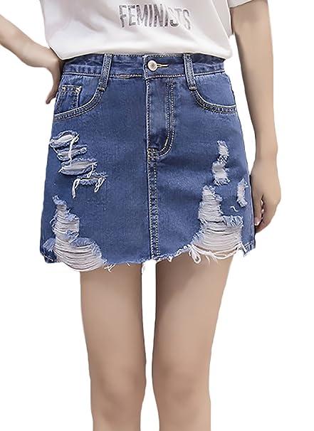 5d5062954c8d Gonne Jeans Donna Estate Moda Vintage Strappati Buco Vita Alta Linea Ad A Gonna  Minigonna Casual Elegante Ragazza Abbigliamento: Amazon.it: Abbigliamento