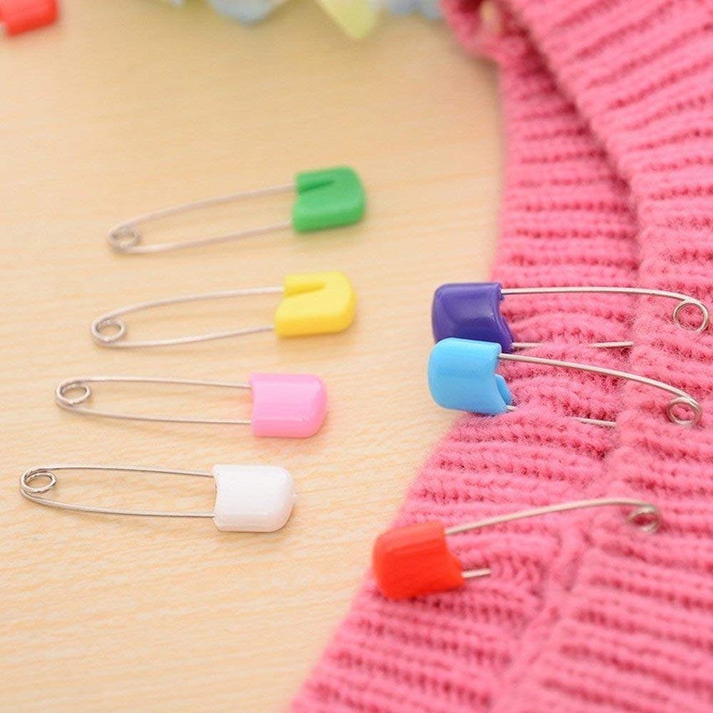 Allphone 142 PCS 5.5cm Length Baby Safety Pins Assorted Color Plastic Head Diaper Pins Safety Locking Baby Cloth Diaper Nappy Pins