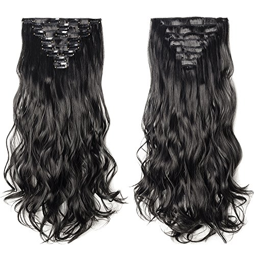 S-noilite 17-26 Inches 8pcs Long Full Head Clip in Hair Exte