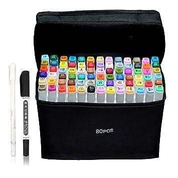 Amazoncojp マーカーペン 油性ペン イラストマーカー 80色 2種類の