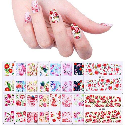 BORN PRETTY Nail Art Water Decal Flower Manicure Tatoo Transfer Stickers Rose Sakura Butterfly 48 Patterns (Tatoo Pattern)