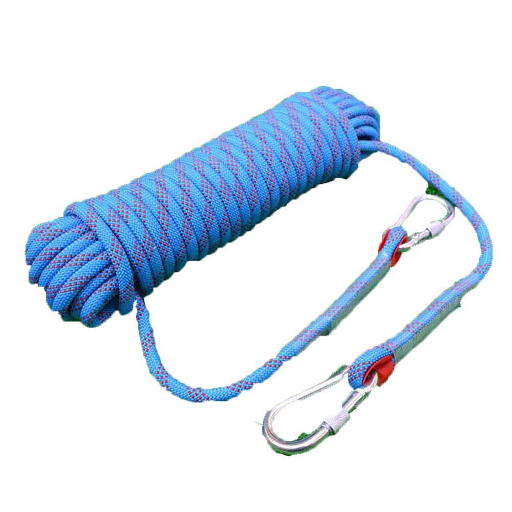 Bleu Rock climbing ropes LDFN Corde d'escalade Plein Air Sécurité Alpinisme Chute Corde De Sauvetage Corde D'échappement Maison Corde Statique,bleu-30m16mm 10m16mm