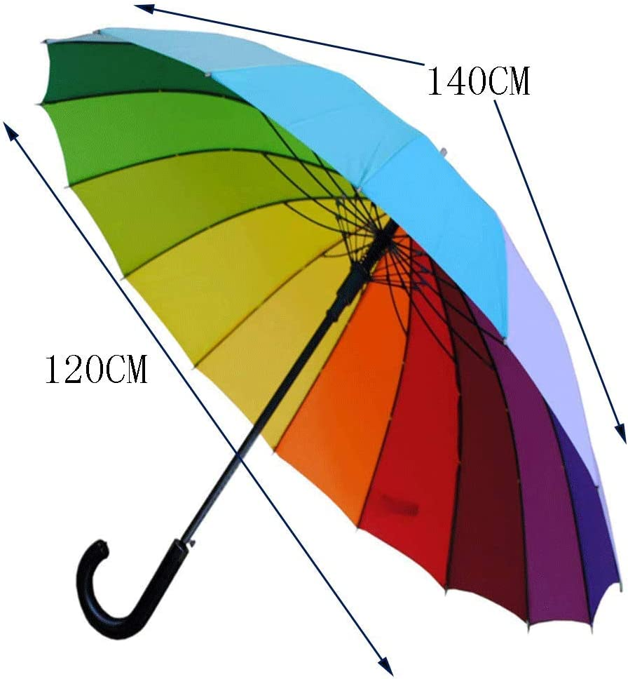 Parapluie Surdimensionn/é 16 Parapluies Arc-en-Ciel Ouverture Automatique Parapluies De Haute Qualit/é Contre Les Temp/êtes