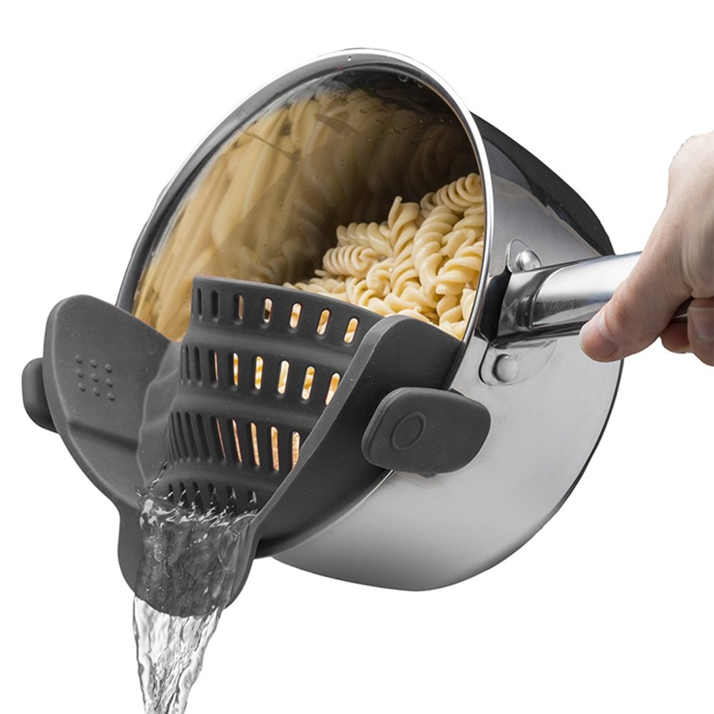 Clip-on Silicone Snap on strainer,Fits all Pots and Bowls Even with a lip,Colander & Drainer, Pan Strainer- Spaghetti, Ground Beef Grease, Vegetables Strainer,PBA Free(Gray)