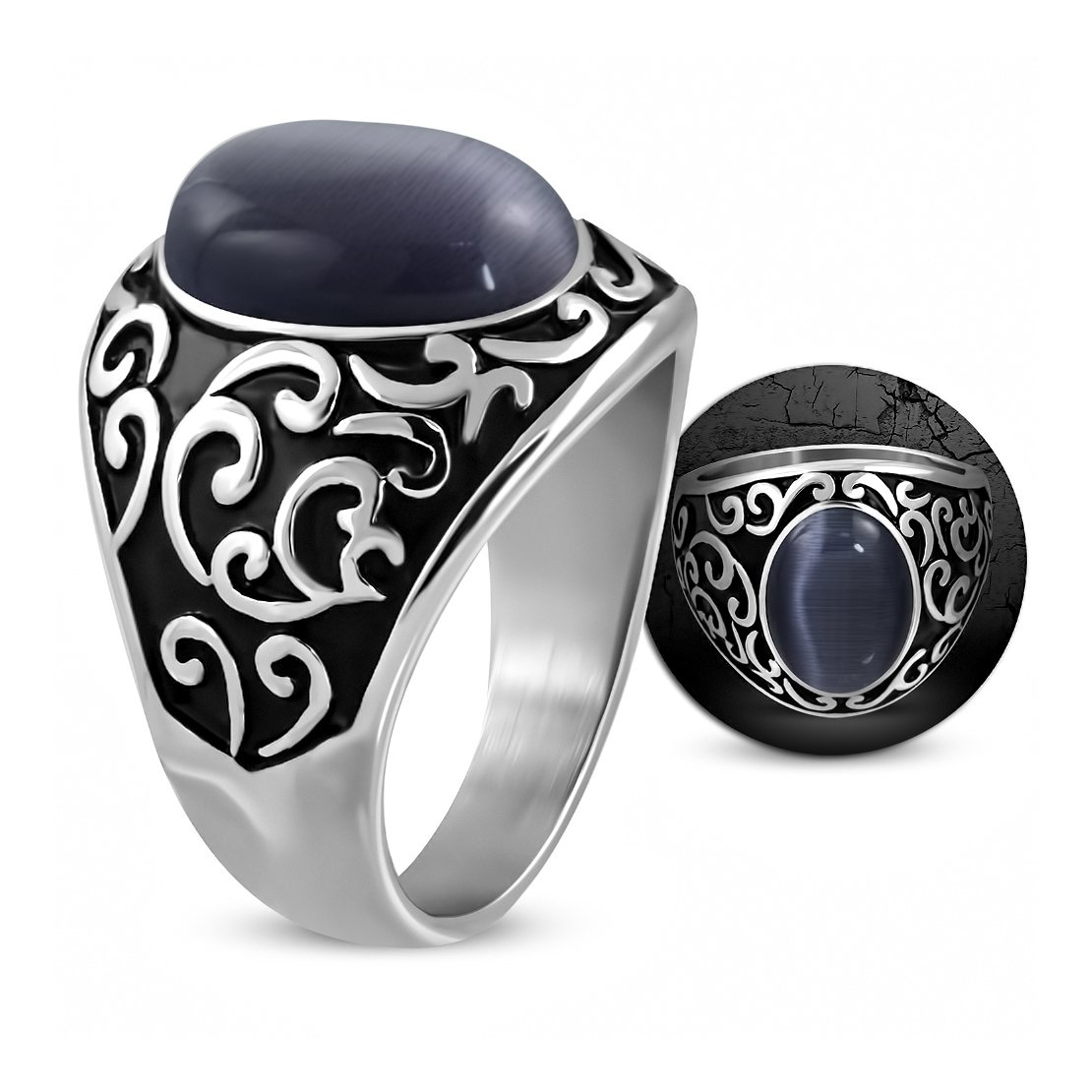 NRG Rings Stainless Steel 2 Color Spiral Vine Shank Oval Dome Biker Ring with Cats Eyes Stone