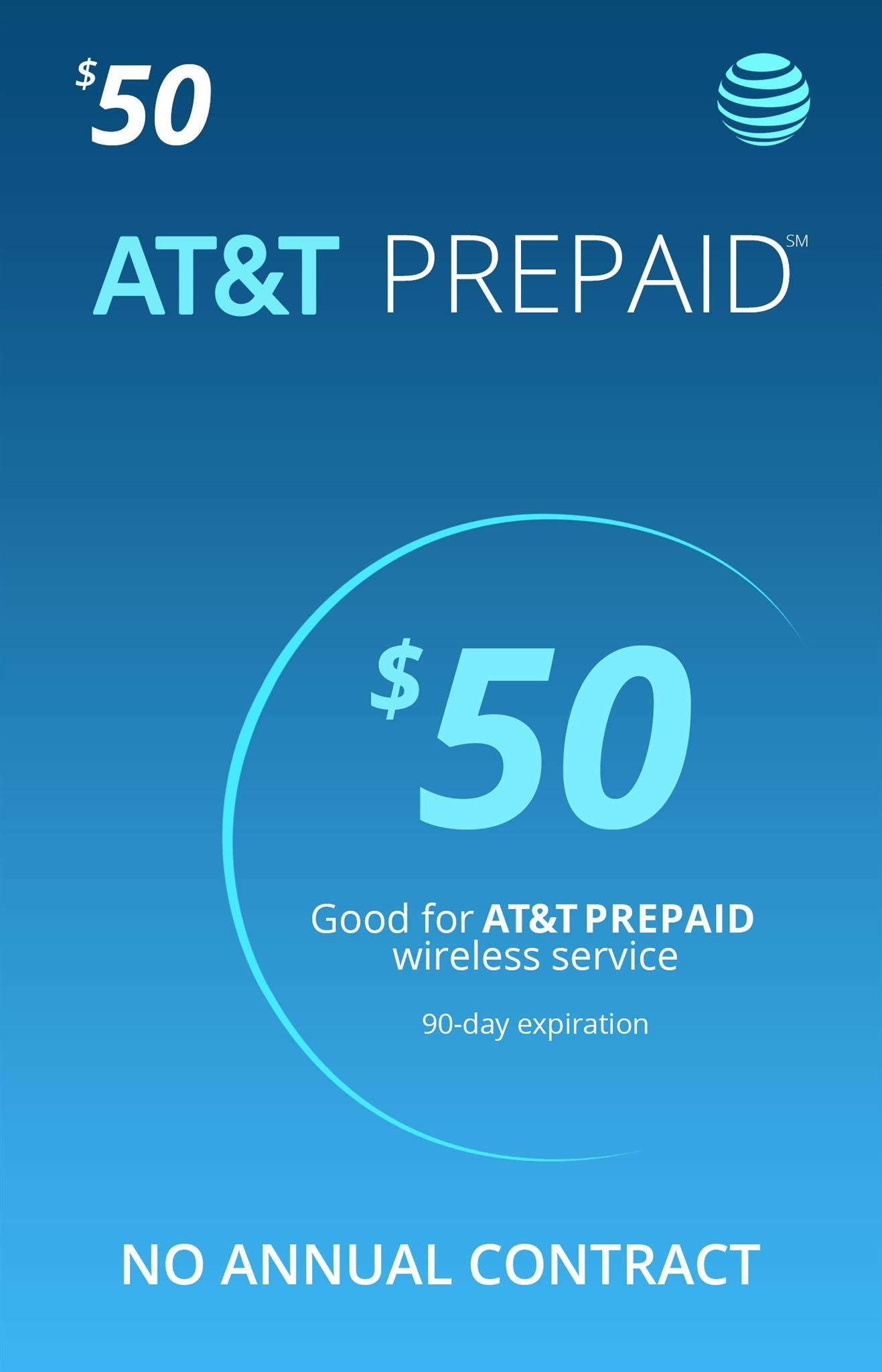 AT&T $50 Prepaid Monthly Calling Plan With 1 Month Service Included