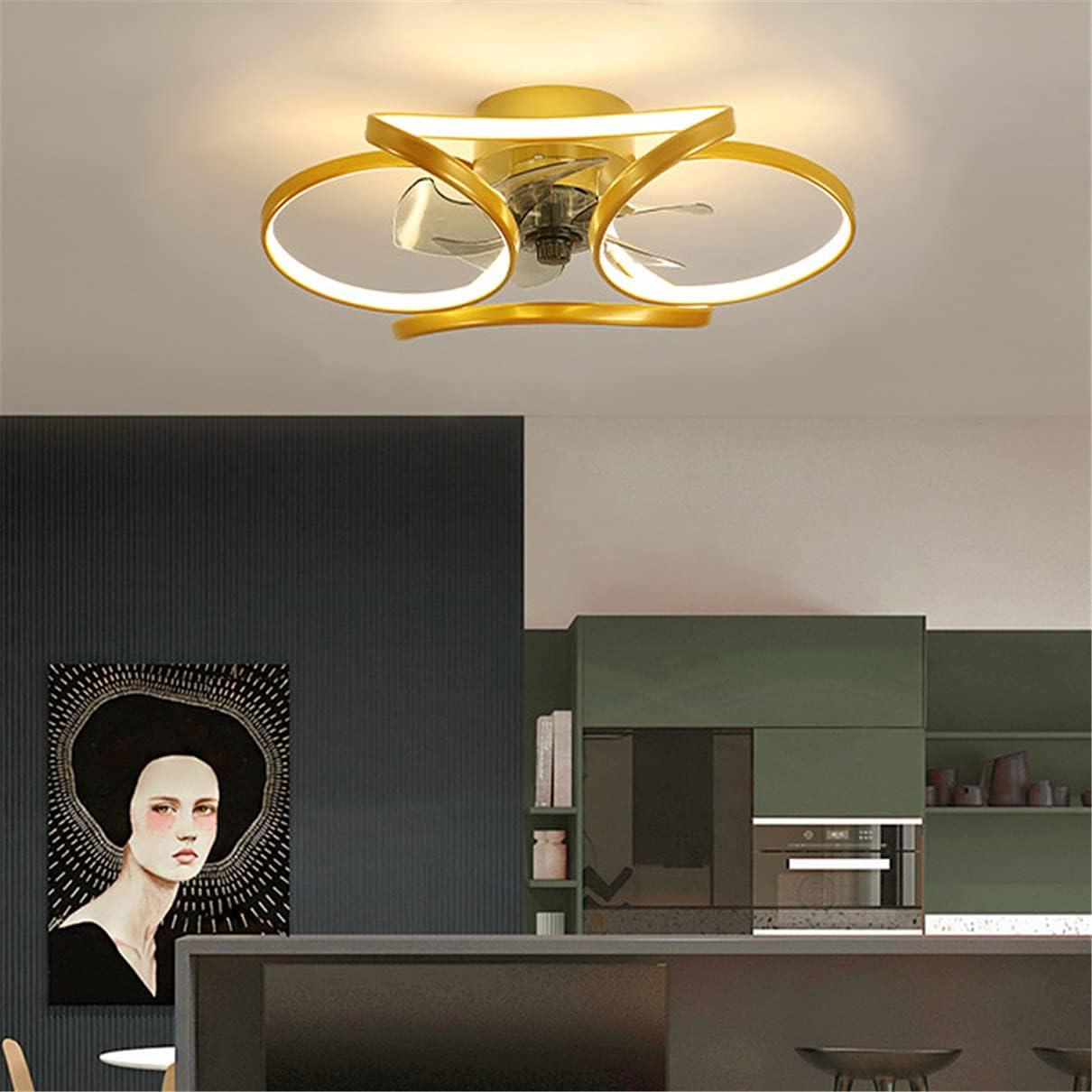 YUNLONG Ventilador Techo con Luz Minisun, Dormitorio Led Moderno Silencioso Salon Luz con Ventilador Techo, Cocina Regulable 45CM 5 Cuchillas 45W Potente Ventiladores De Techo con Luz,Oro
