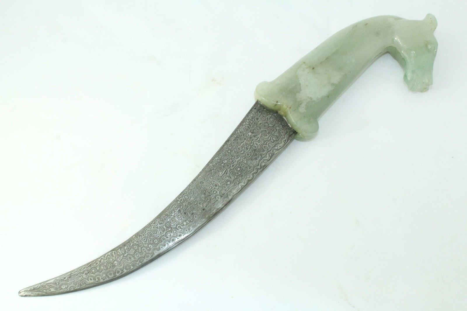 Rajasthan Gems Handmade Green Jade Mughal Horse Handle Dagger Knife Damascus steel blade 13.6''