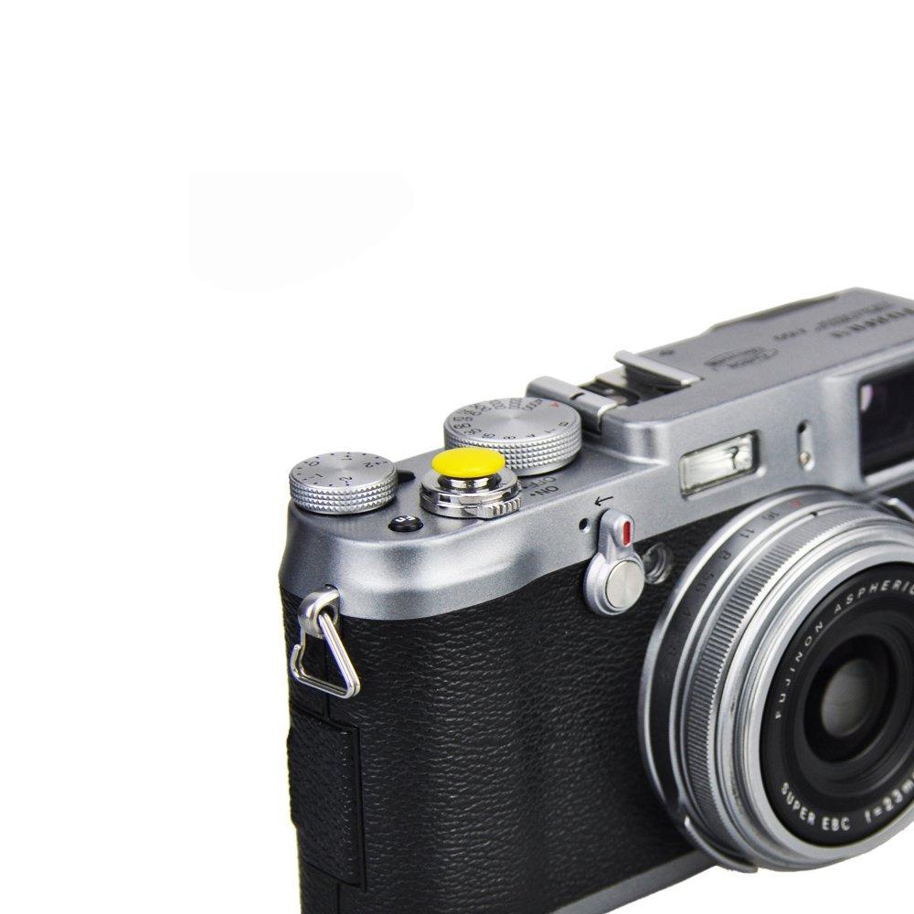 LXH 4 Pcs Pack Metal Concave Surface Soft Shutter Release Button for Fujifilm XT20 X100F X-T2 X100T X-PRO2 X-T10 X-PRO1 X-E2S X100 X100S X10 X20 X30 X-E1 //2 Nikon Leica Red+Black+Silver+Orange