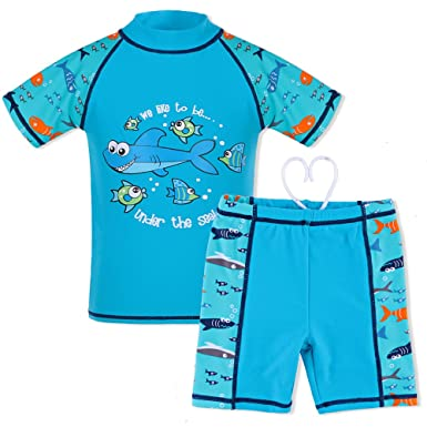 39533842b71aa TFJH Kids Boys Swimsuit UPF 50+ UV Sun Protective 2PCS Shark Fish Blue  Short 92