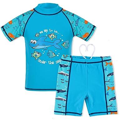 39533842b71aa TFJH Kids Boys Swimsuit UPF 50+ UV Sun Protective 2PCS Shark Fish Blue  Short 92