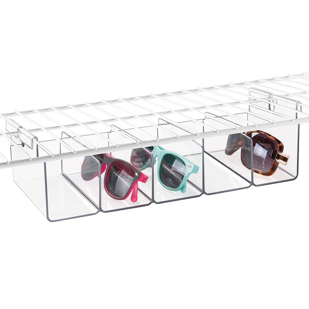 mDesign Wire Shelving Organizer, Hanging Under Shelf Storage Bin - Medium Divided, Clear MetroDecor 0732MDCO