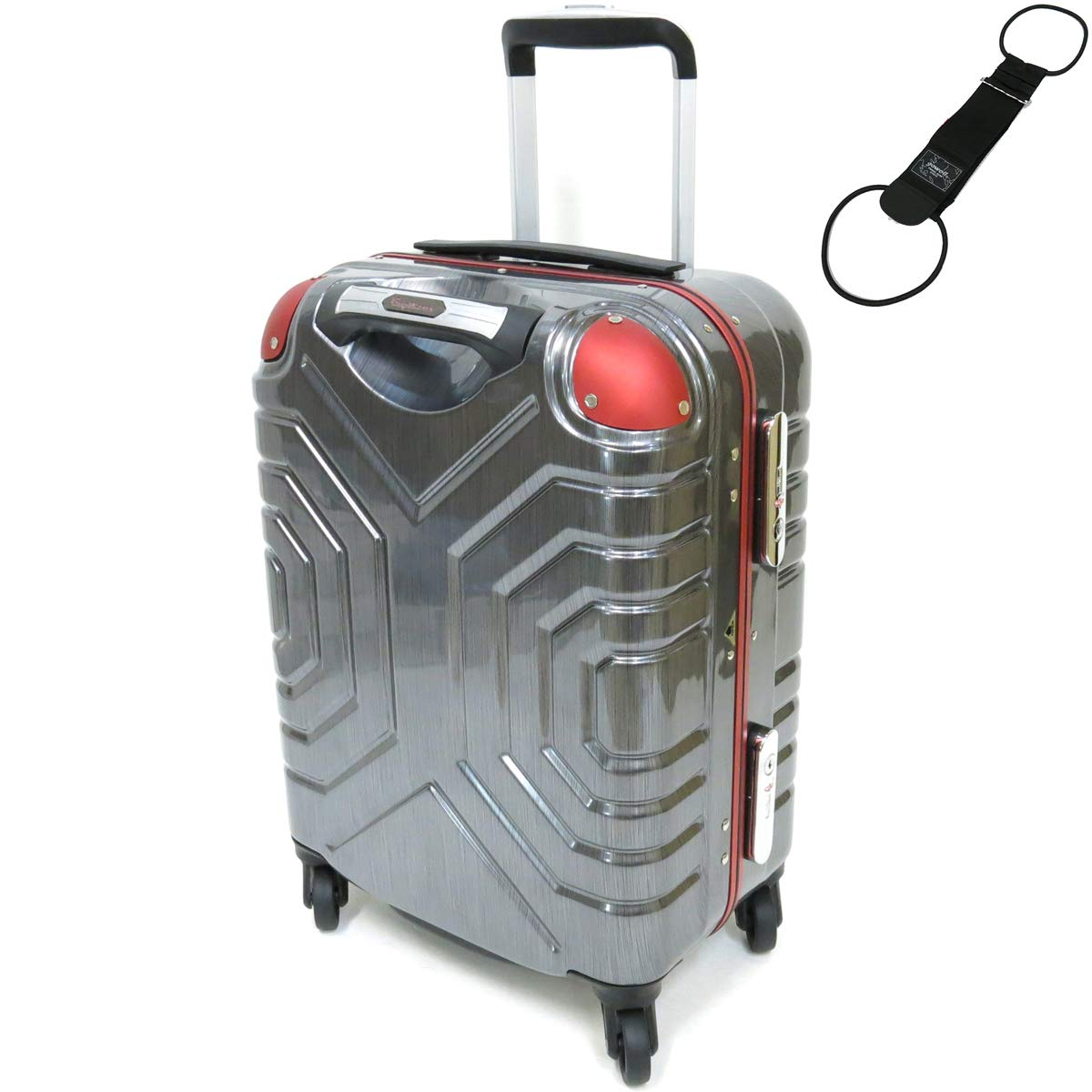 [セット品] (シフレ) Siffler ESCAPE'S GripMaster B5225T-44 シフレ 機内持込可能サイズ (ゴーウェル) GOWELL ゴーウェル バッグとめるベルト ブラック 【合計2点セット】 (ヘアラインブラック/レッド)   B076KQ5S87
