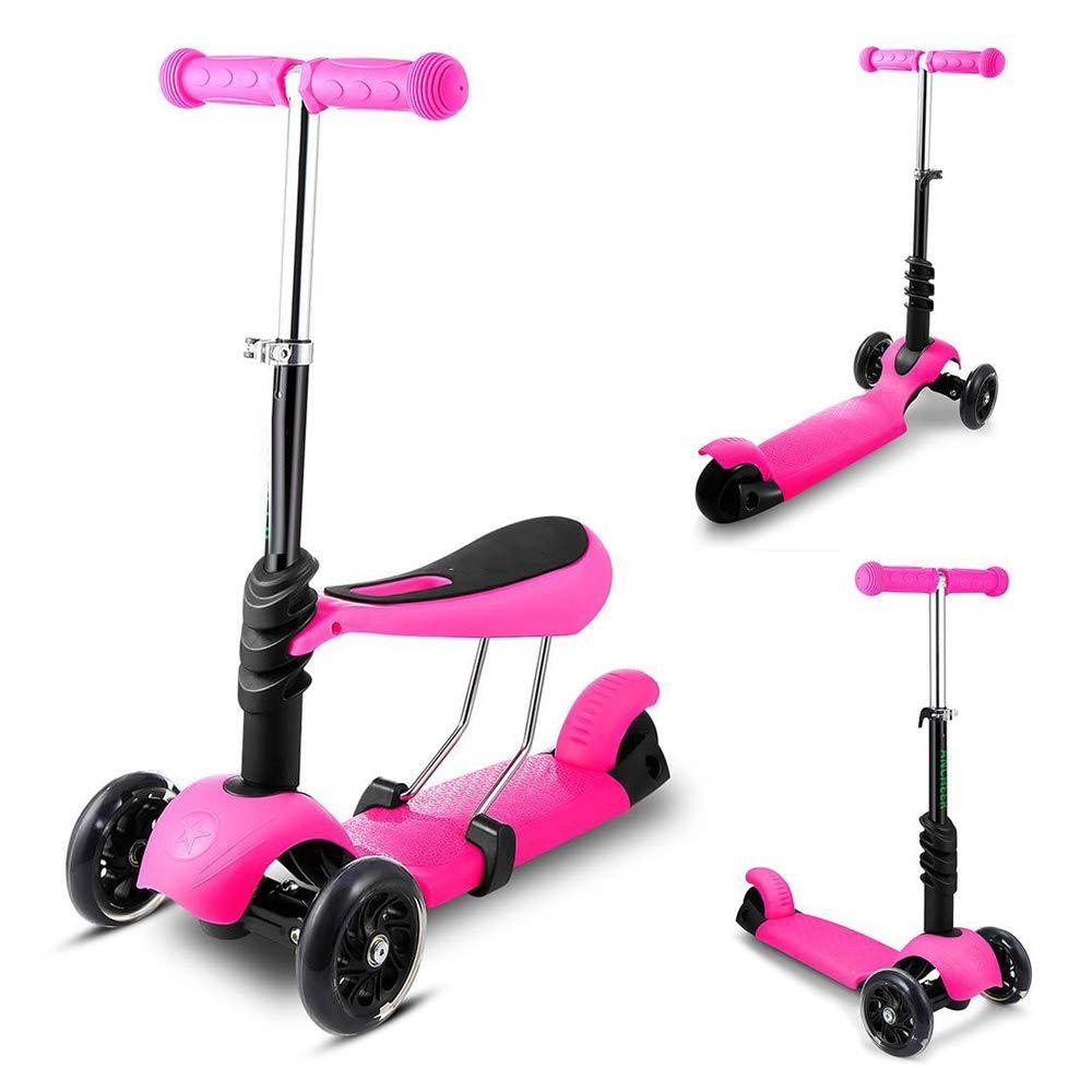 取り外し可能な座席が付いている子供3の1の小型3車輪のキックスクーターのためのスクーター導かれた点滅の車輪が付いている調節可能なFoldable押しのスクーター