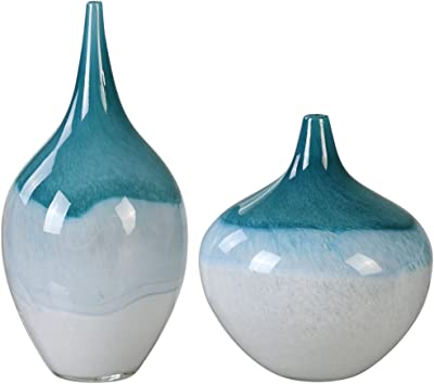 Amazon Com Chive Frost Round Clay Pottery Flower Vase Decorative Vase For Home Decor Living