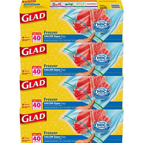 - Glad Zipper Food Storage Freezer Bags - Gallon - 40 Count - 4 Pack