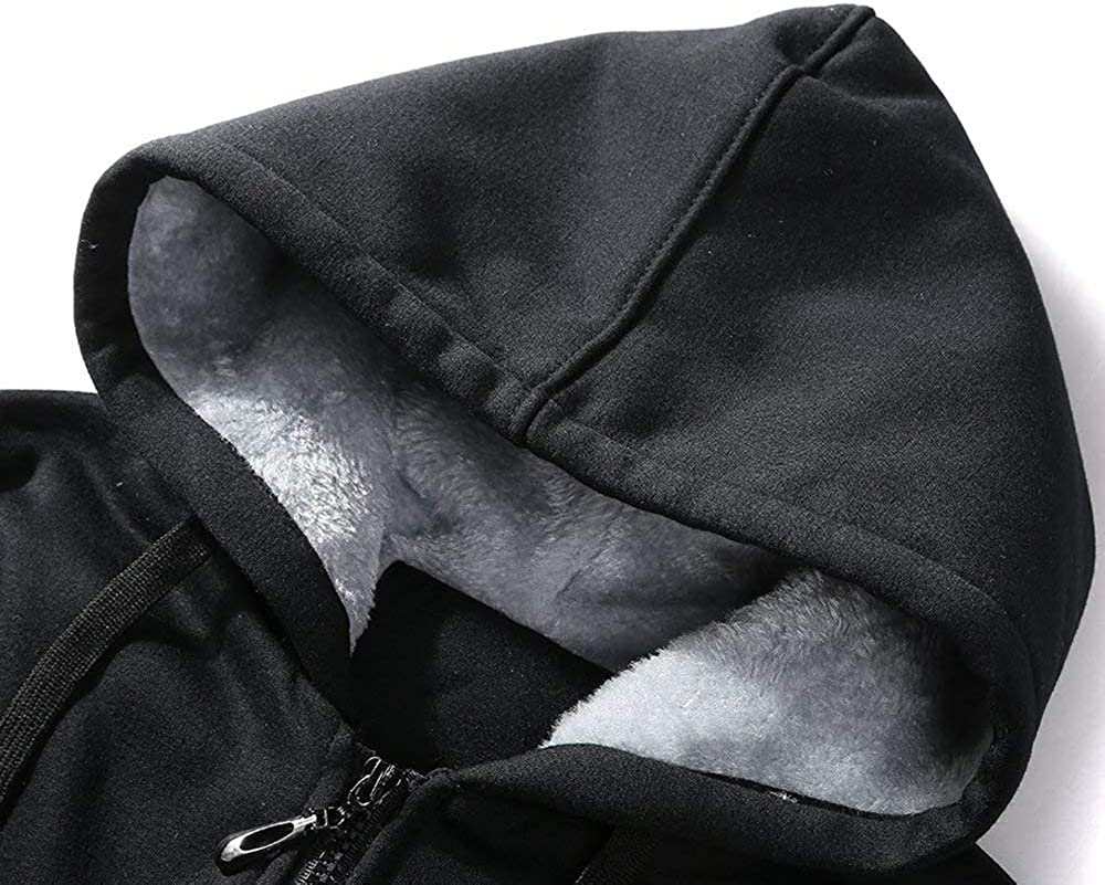 LiGG Herren Kapuzenpullover mit Rei/ßverschluss Langarm Kapuzenjacke Winter Warm Fleece-Innenseite Sweatshirt Plus Dicke Fleecejacke Sweatjacke Mit Kapuze