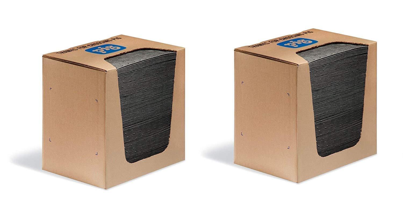 New Pig Mat Pads in Dispenser Box -Absorbent Mats - 12 Ounce Absorbency - 13'' x 10'' - MAT251 (2 X Pack of 100)