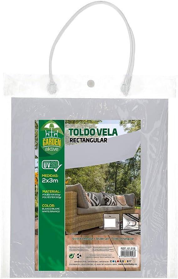Aktive 61018 Toldo Vela Rectangular con protección UV50, Blanco ...