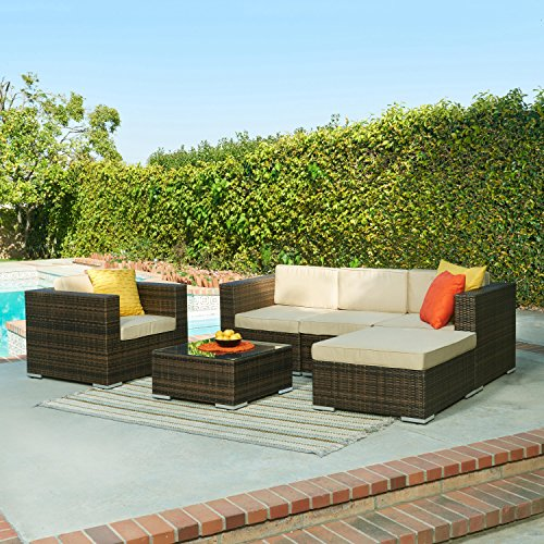 The-Hom Caribe 4 Piece Wicker Outdoor Sofa Set in Dark Brown (The-hom Outdoor Furniture)