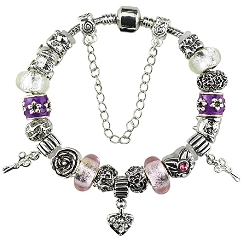 58b5d665a01 Duchy Silver Plated Charm Bracelet with Charms for Pandora Pink Heart  Christmas and Birthday Gifts for