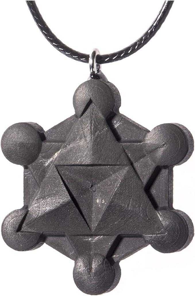 Wallystone Gems Shungite Pendants Sacred Geometry Engraving