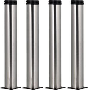 4pcs 13.77inch Height Adjustable Stainless Steel Furniture Legs Feet Replacement Sofa Kitchen Cabinet Loveseat
