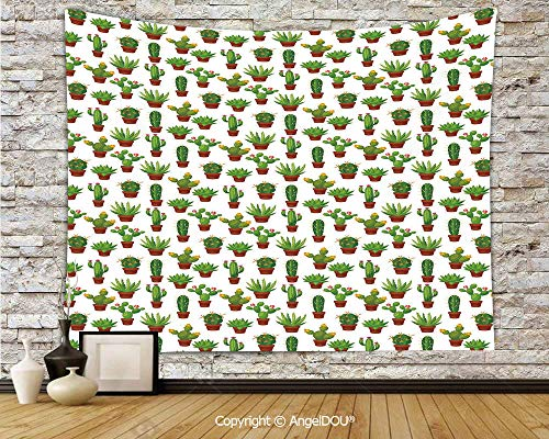 (AngelDOU Cactus Dorm Decor Wall Hanging Tapestry Abstract Floral Pattern with Vases and Pots Botany Spring Season Cartoon for Living Room Bedroom.W78.7xL59(inch))
