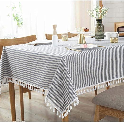 Ecent Mantel de Mesa Rectangular en algodón y Lino 100 x 140 cm ...