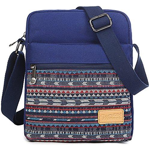 Small Crossbody Bag Purse Canvas Striped Organizer Messenger Bag Travel Shoulder Bag for Girls and Boys (Dark Blue Stripes)