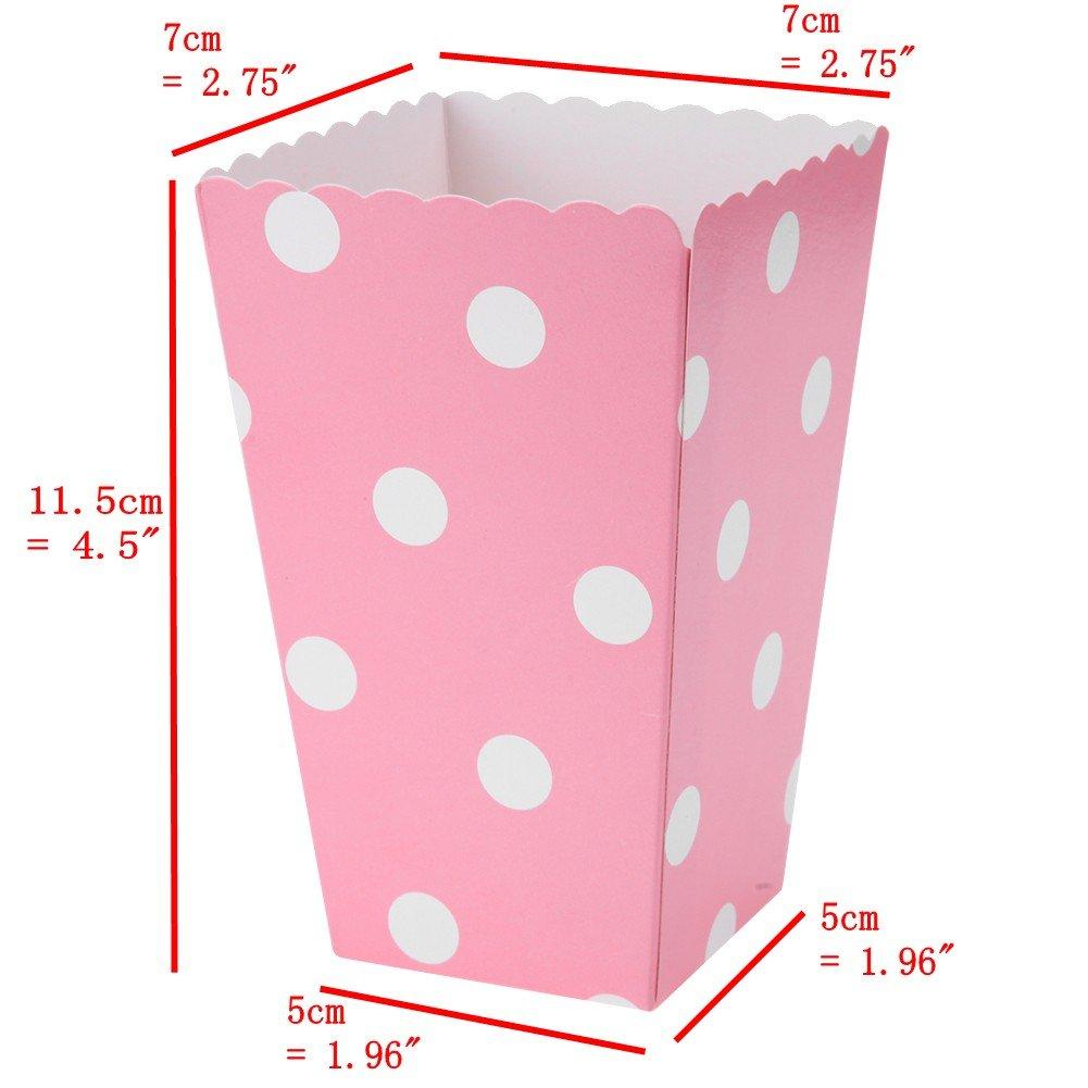 JZK 48 Oro Argento Righe Pois Piccole scatole Pop Corn Carta Contenitore per Popcorn Patatine Caramelle spuntini stuzzichini per bomboniere regalino pensierino Festa Compleanno Bambini