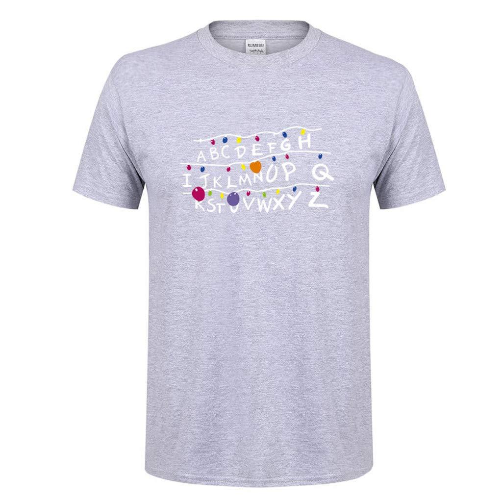 Hombres Mujeres Unisex Primavera Verano Rovinci Casual Alfabeto Impreso O Cuello de Manga Corta de algodón Hip Hop Camisetas Tops: Amazon.es: Ropa y ...