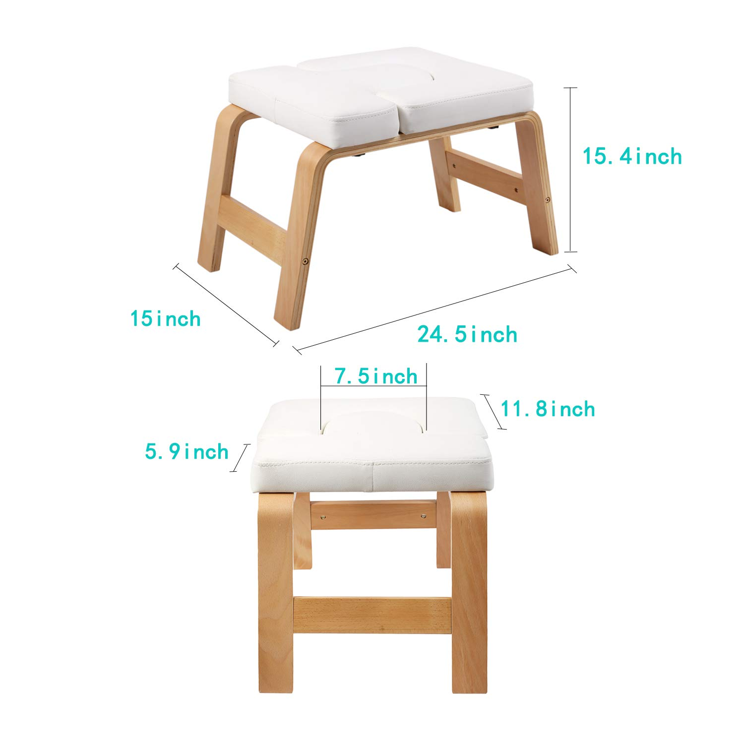 Desire Life Yoga Headstand Bench - Stand Yoga Chair for Family, Gym - Wood and PU Pads - Relieve Fatigue and Build Up Body (White) by Desire Life (Image #3)
